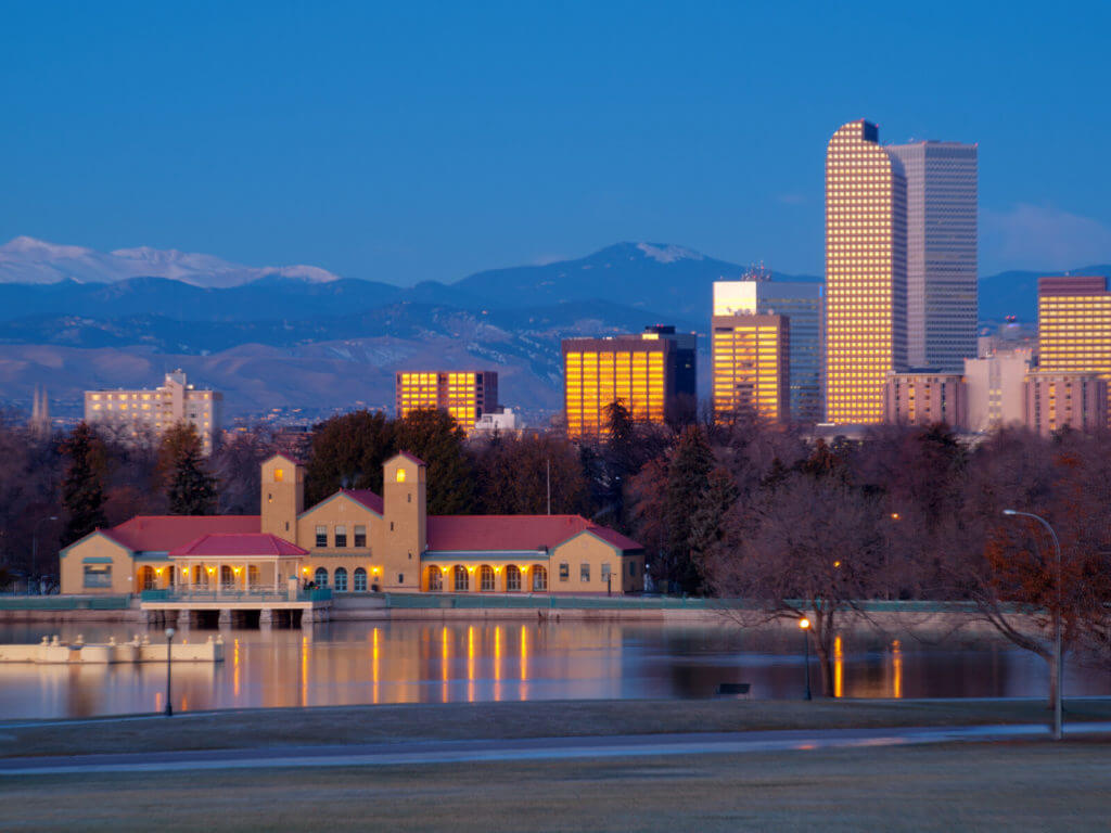 A view of downtown Denver before sunrise