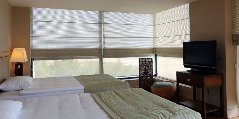 roman blind for hotel windows